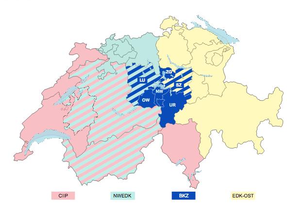 Die Gebiete der vier regionalen Erziehungsdirektorenkonferenzen in der Schweiz.