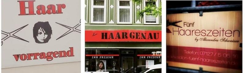 «Haarspalterei» wäre auch noch etwas … Leider nicht aus Luzern – trotzdem witzig. (Fotos: Instagram #Friseurnamen)