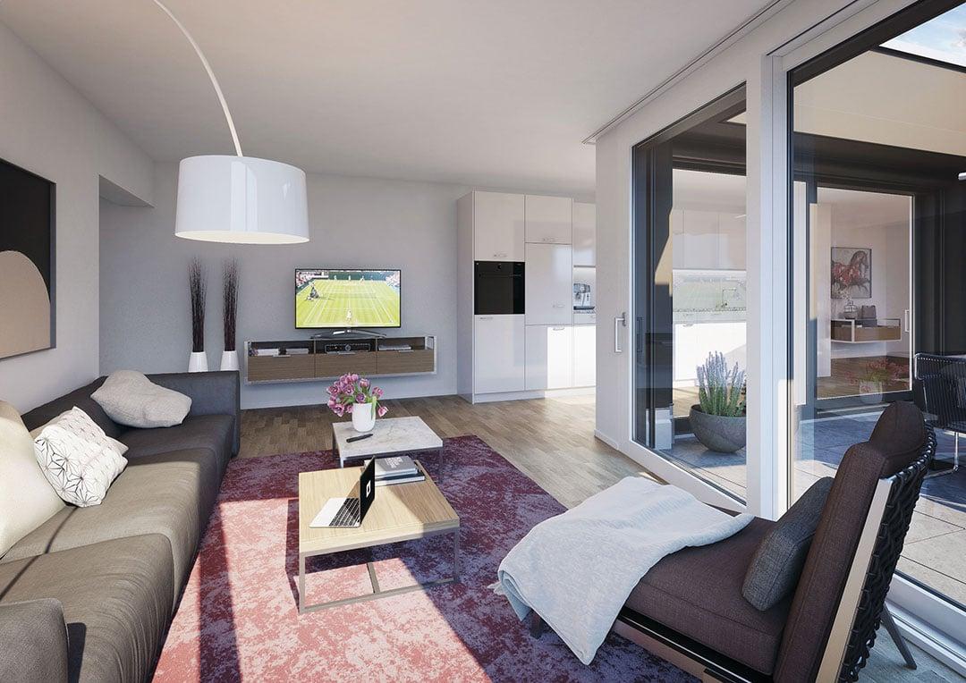 So soll eine beispielhafte 2.5-Zimmer-Wohnung im Schweighof aussehen.