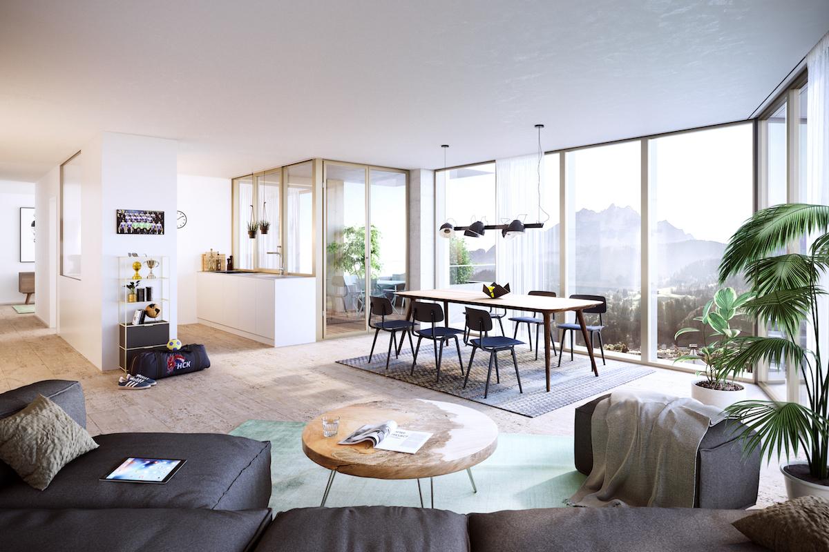 Einblick in eine der geplanten Wohnungen. (Visualisierung: Raumgleiter AG, Zürich)