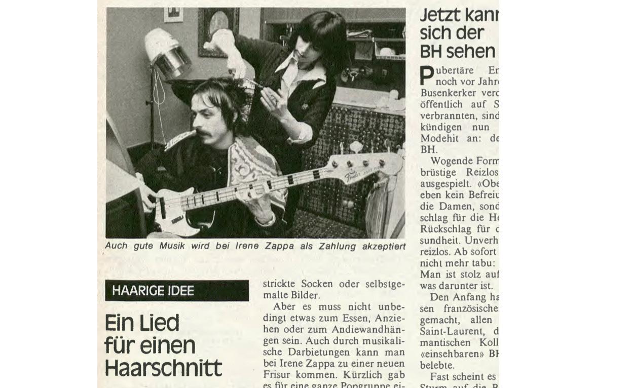 1978 war Irène Zappa mit ihrem Coiffeur in der «Schweizer Illustrierten».