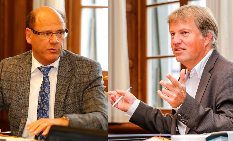 Nicht einer Meinung: Vizepräsident Matthias Senn (FDP, links) und Gemeindepräsident Cyrill Wiget (Grüne).