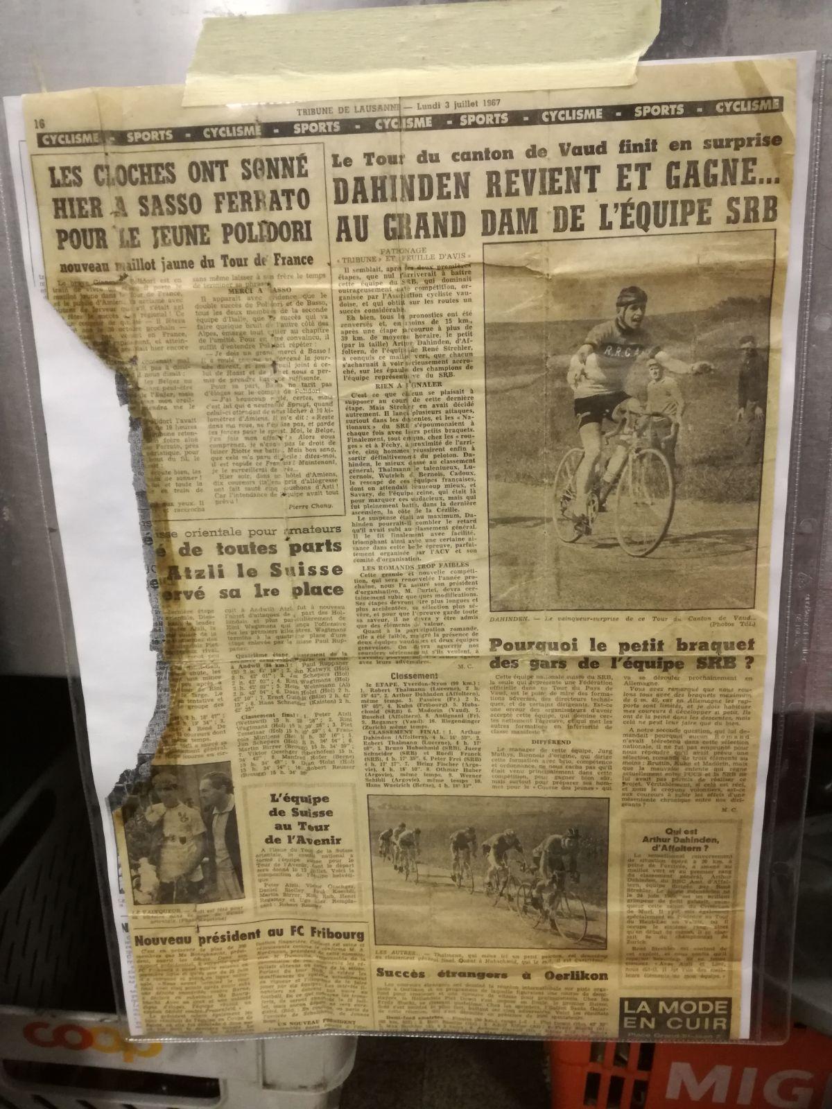 1967 gewann Turi Dahinden das «Pays de Vaud»-Juniorenrennen.