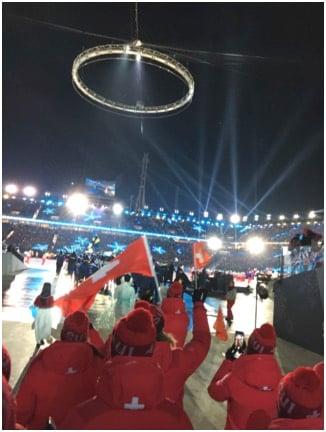 Einzug der Schweizer Delegation bei der Eröffnungsfeier.