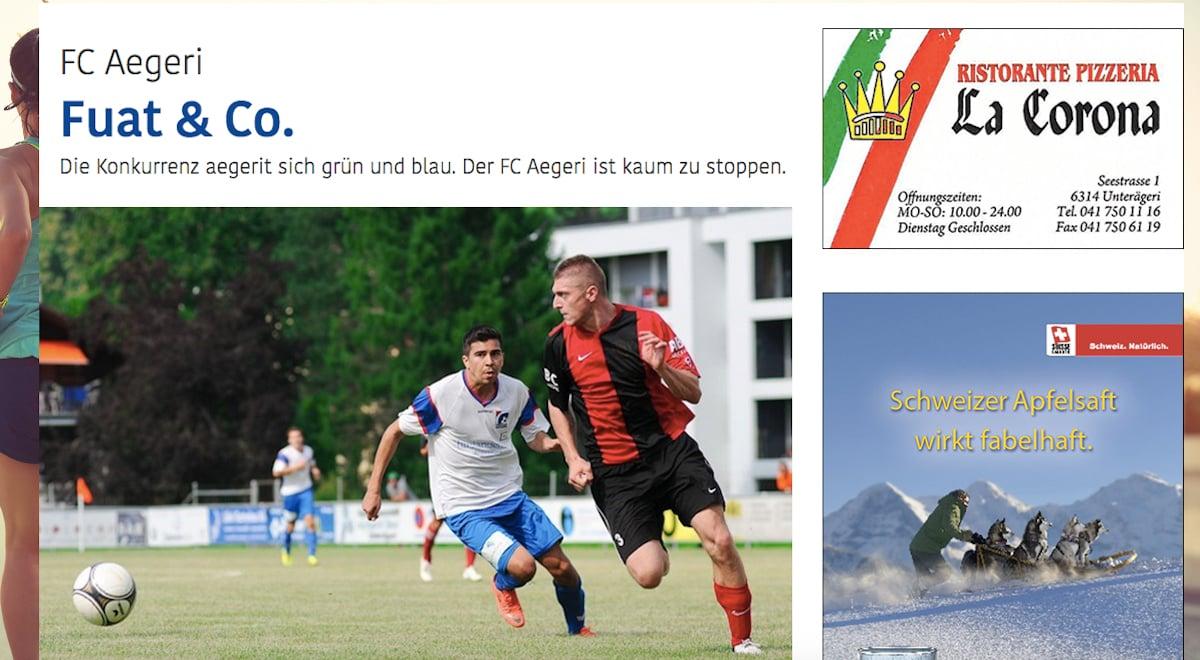 Bild und Titel zum Porträt des FC Aegeri: Hier erfährt man vergleichsweise viel vom Klub.