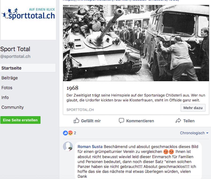 Die Bezugnahme auf den sowjetischen Einmarsch in Prag für das Gründungsjahr des FC Urdorf findet dieser User gar nicht lustig.