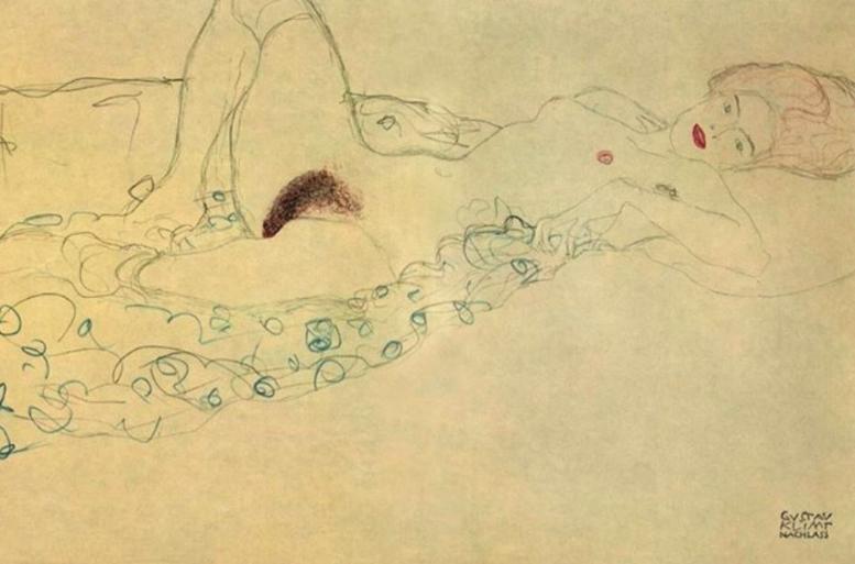 Eine von Klimts erotischen Zeichnungen, die derzeit im Zuger Kunsthaus zu sehen sind.