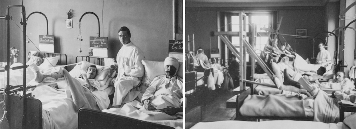 Das Lazarett im Suva-Gebäude von Juli 1916 bis Oktober 1917: Kriegsverletzte im französischen (links) und im deutschen Trakt.