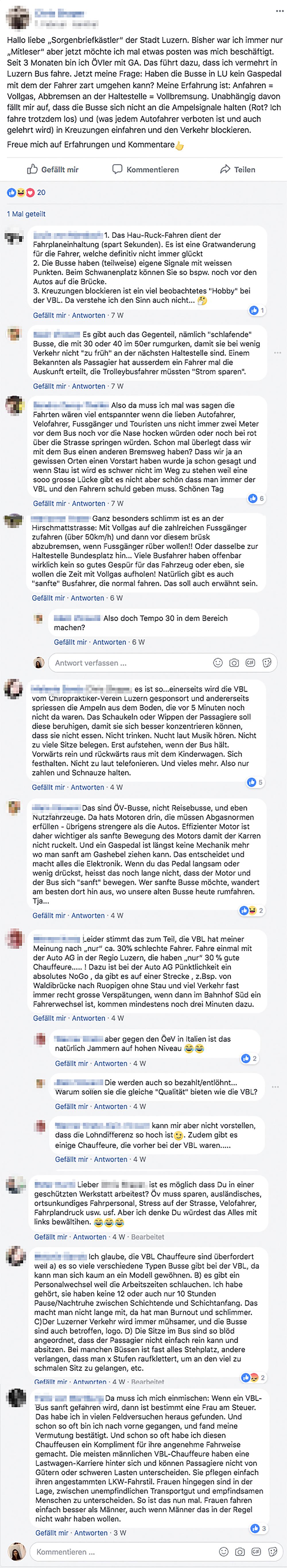 Angeregte Diskussion und kritische Stimmen auf Facebook zu den Fahrweisen der Buschauffeure.