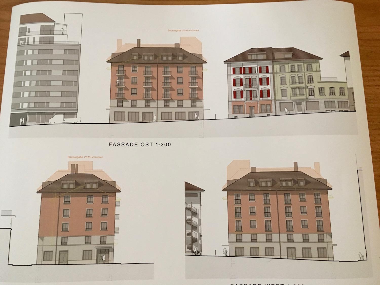 Das Dach soll neu flacher werden. Die schattierte Fläche zeigt das alte Projekt.