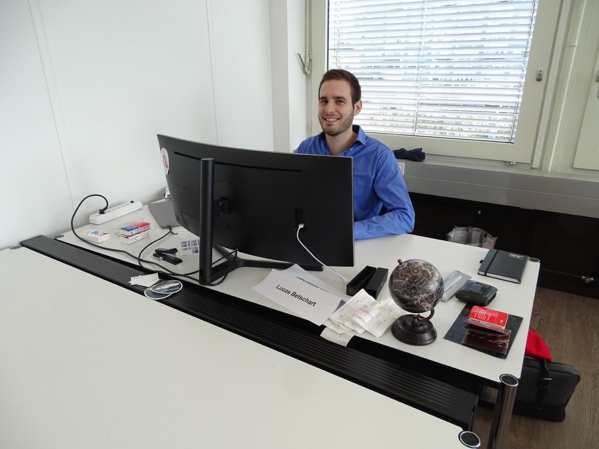 Lucas Betschart, Präsident der Bitcoin Association Switzerland, arbeitet seit der Eröffnung des Hubs hier.