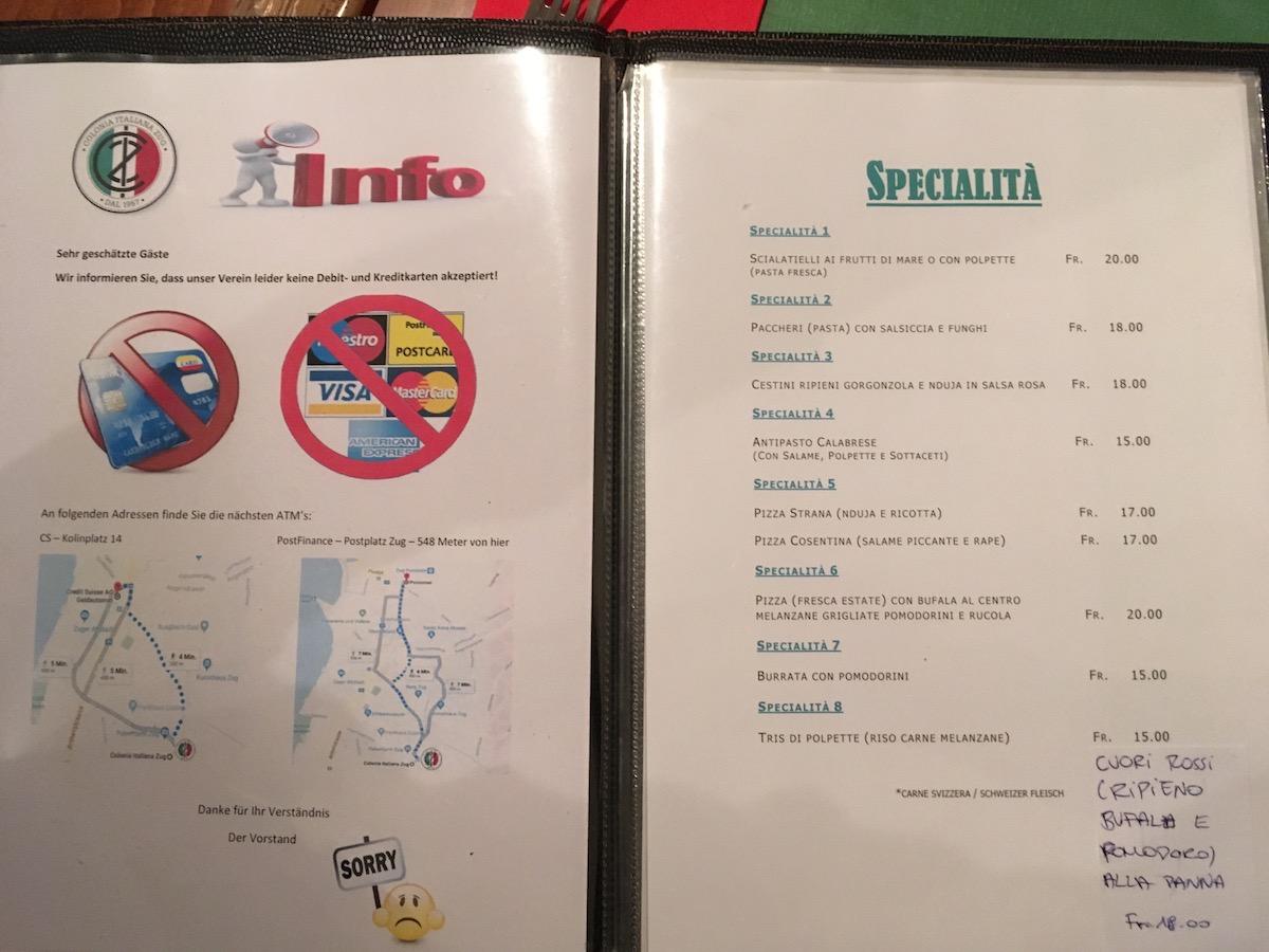 Die Karte mit den Spezialitäten lässt sich sehen.