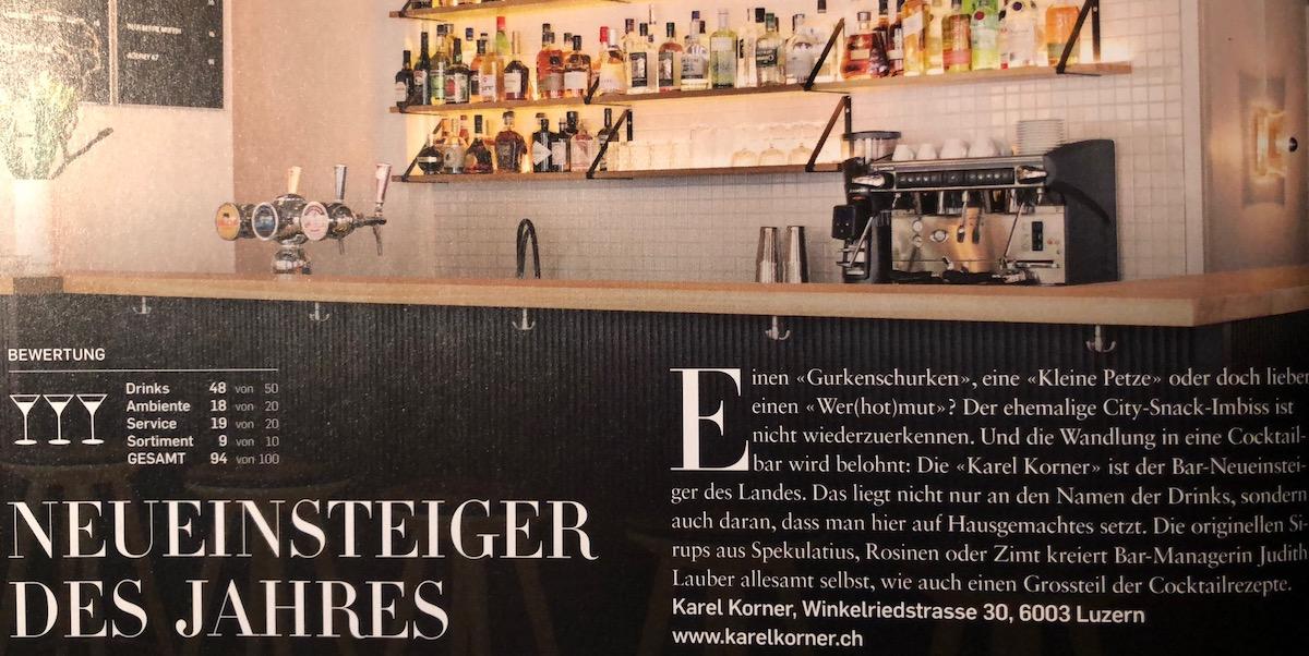 48 von 50 möglichen Punkt für Drinks: So urteilte das Falstaff-Magazin über den Luzerner Karel Korner.