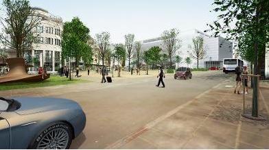 Die Vision eines richtigen Stadtplatzes ohne Parkplätze.