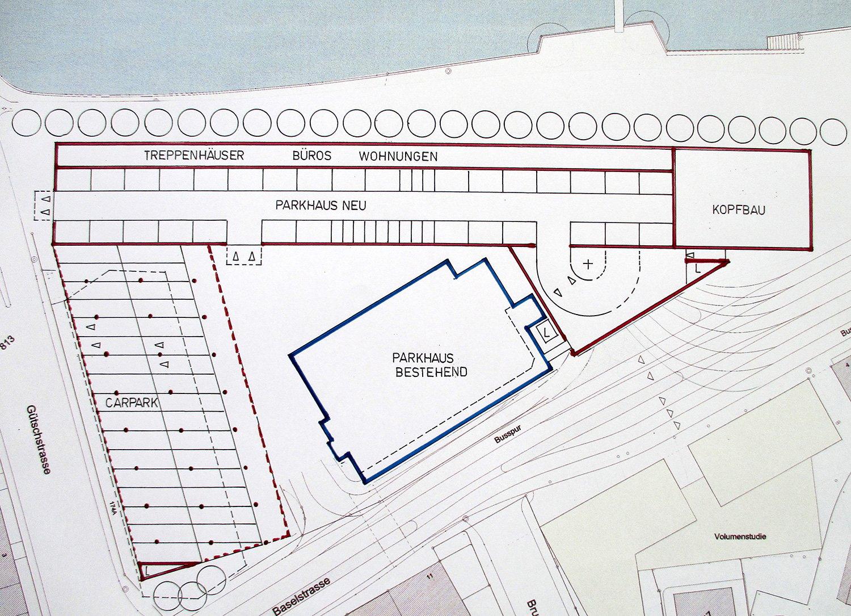 Die beiden Neubauten nach Bruno Ackermann, das bestehende Parkhaus würde bleiben.