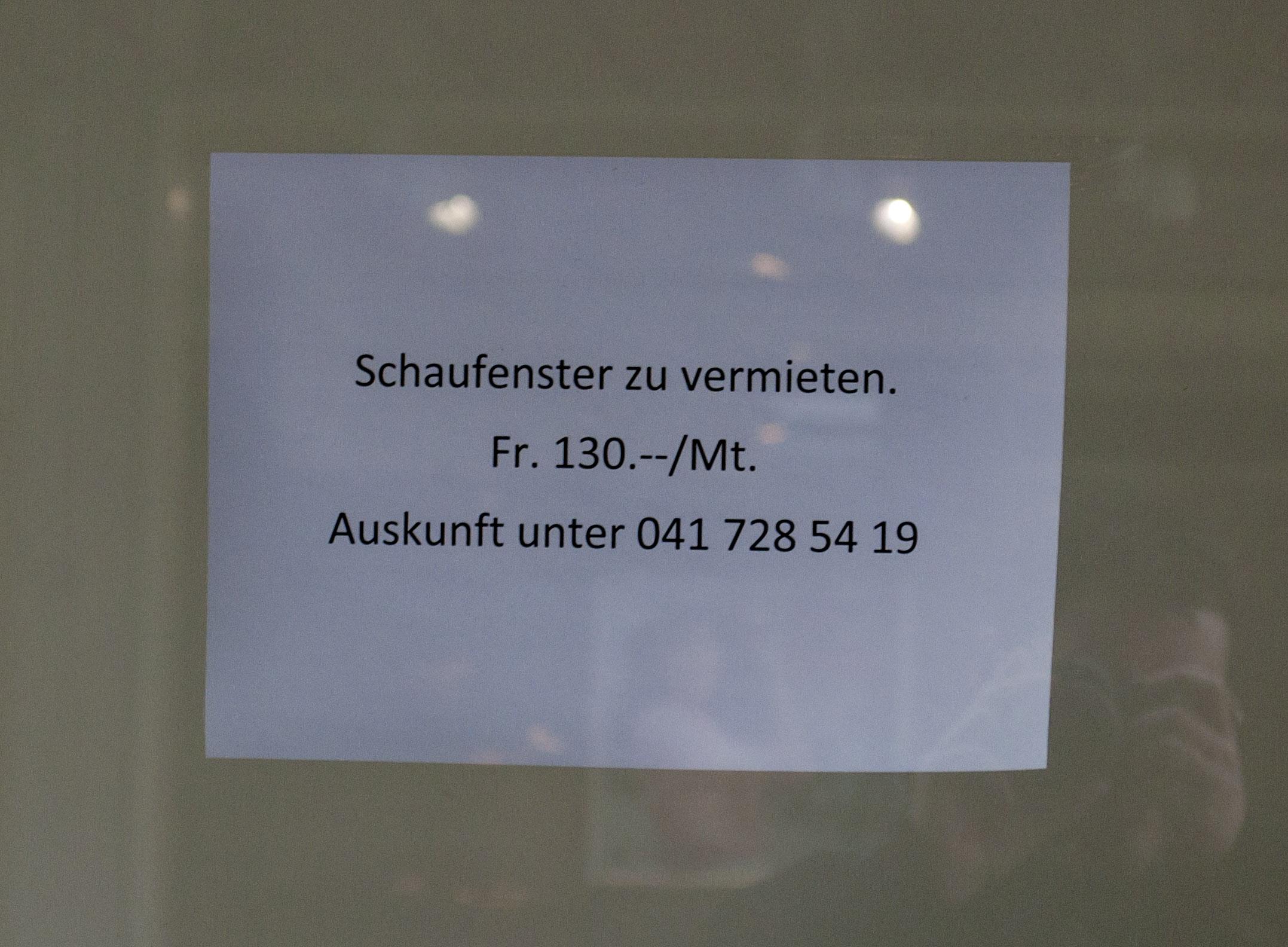 Zu vermieten: Schaufenster des Kantons.