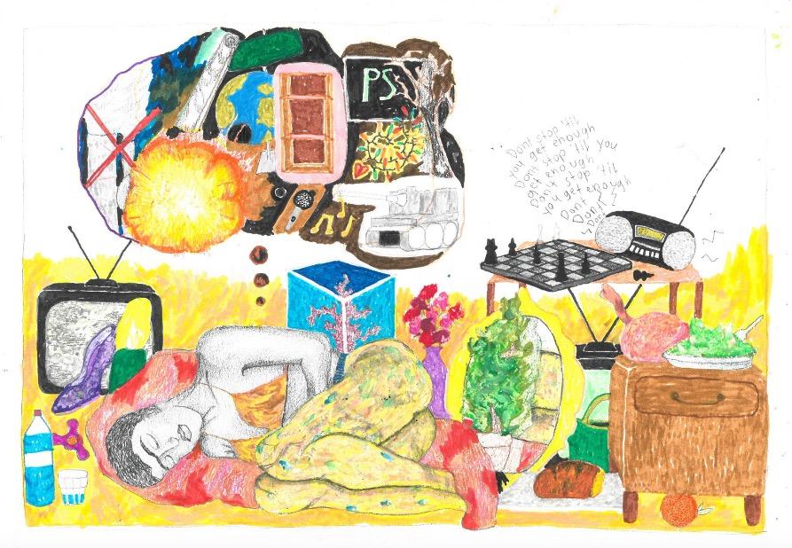 Ausschnitt aus den Zeichnungen von Hannah Schweizer, über eine Träumerin, die alles bekommt, was sie sich wünscht.