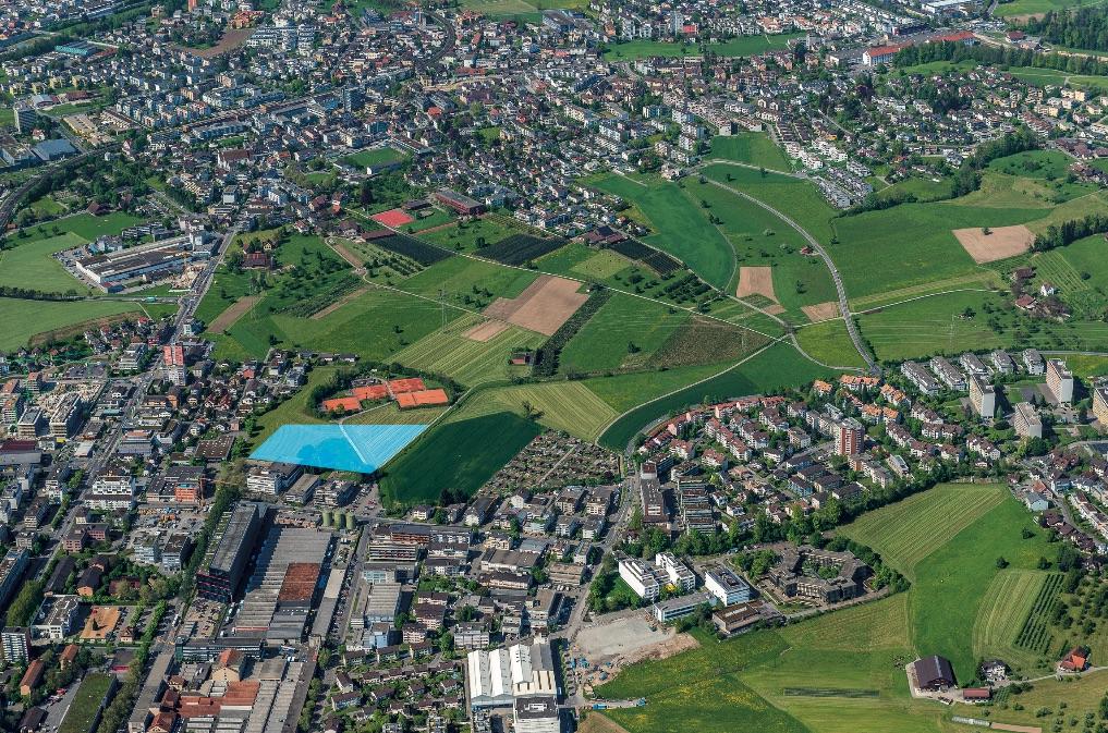 Luftbild mit dem gekennzeichneten Areal im Göbli
