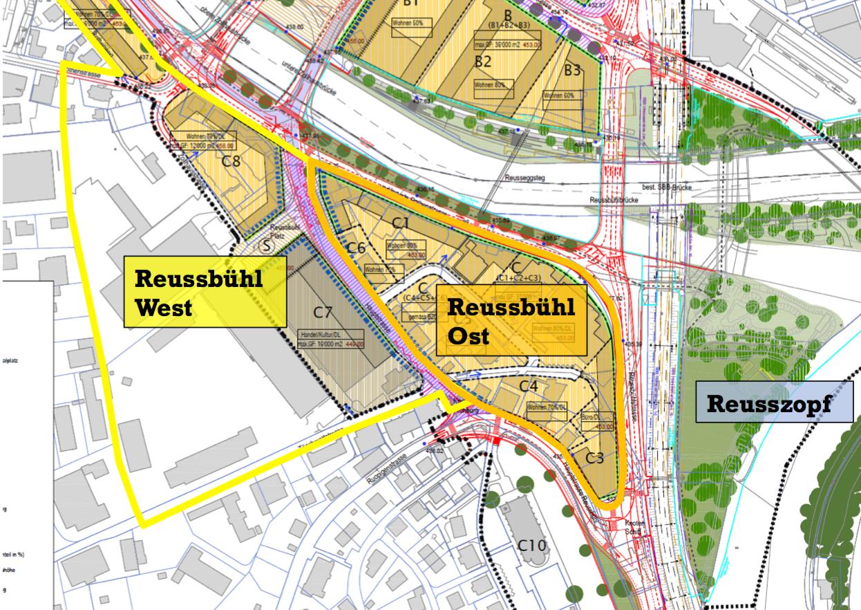 Die beiden Quartiere Reussbühl West und Ost – getrennt durch die verkehrsberuhigte Hauptstrasse.