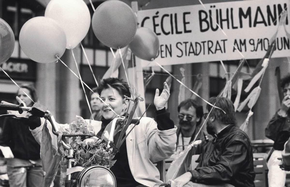 Engagierte Politikerin: Cécile Bühlmann bei ihrer Stadtratskandidatur 1990.