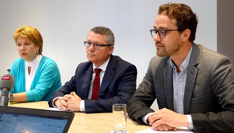 Trix Dettling, Jörg Meyer und David Roth diesen Mittwoch vor den Medien.