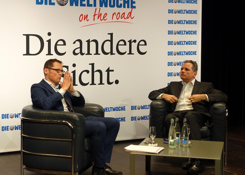Roger Köppel (links) lud im KKL zum Talk mit Michael Haefliger.
