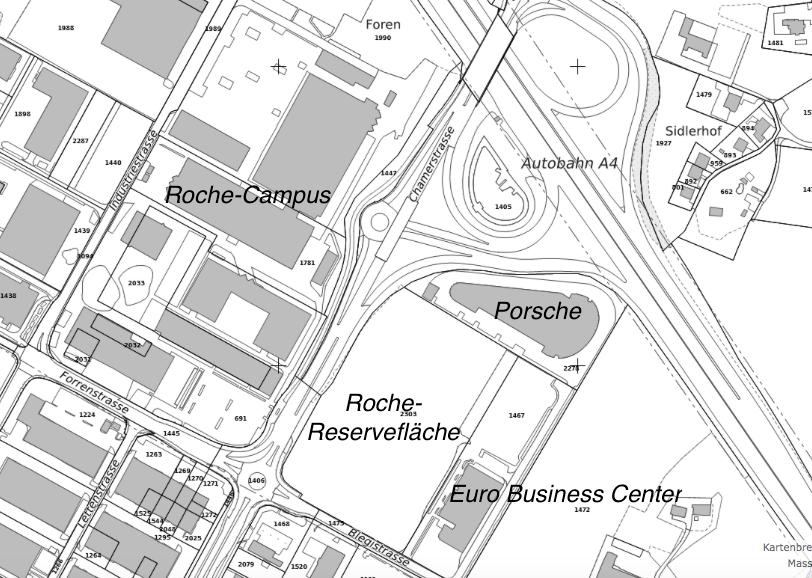 Hier liegt das Reserveland von Roche in Rotkreuz.