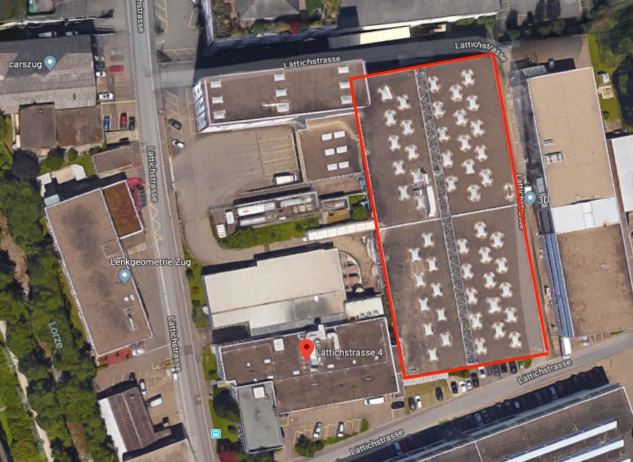 Rot gerahmt sieht man das Gebäude auf dem Trichema-Areal, das bestehen bleiben und als Verkaufsgeschäft genutzt werden soll. Die anderen sollen abgerissen werden.