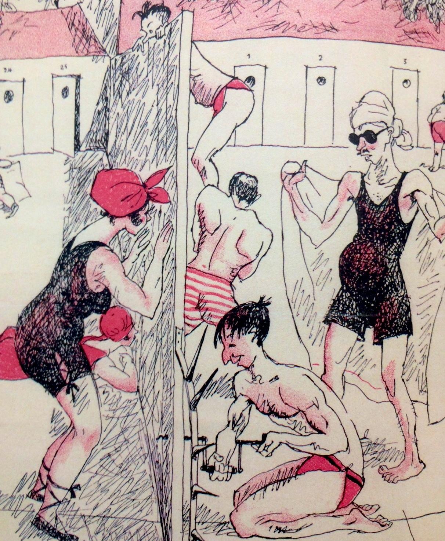 «Strandleben beidseits der Scheidewand» – Eine Karrikatur aus dem Nebelspalter aus dem Jahr 1922.