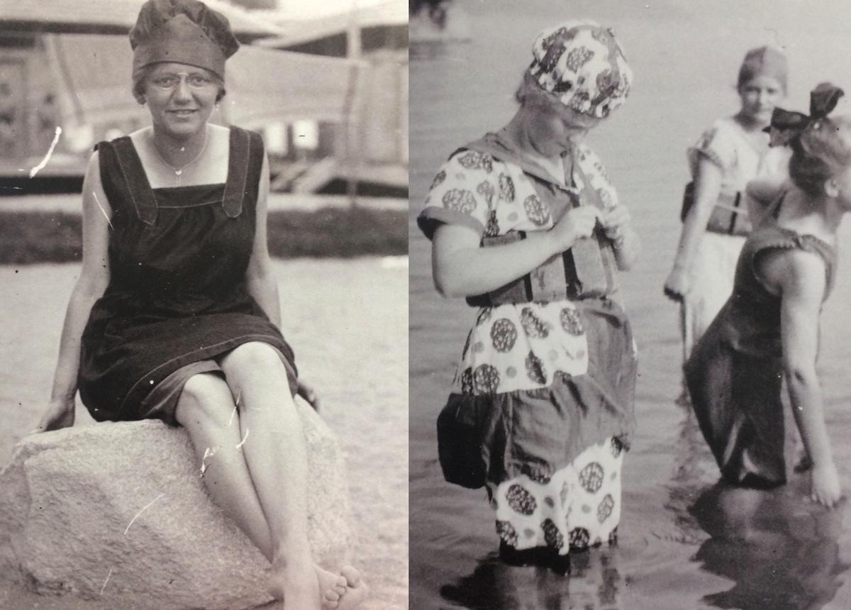 Zwei moderne und eher ausgefallene Badekostüme trugen diese beiden Damen 1919 in Weggis zur Schau. Das Linke wurde damals als eher kurz und fortschrittlich wahrgenommen.