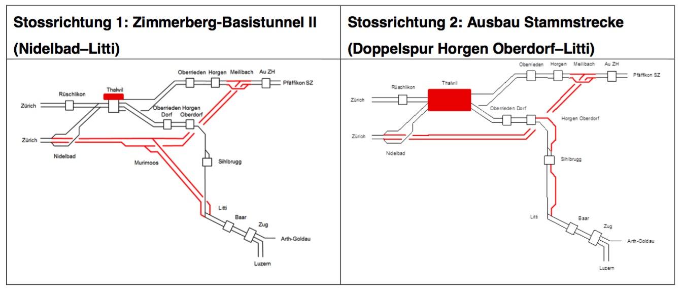 Die SBB favorisieren die Lösung links, weil ein grosser Ausbau des Bahnhofs Thalwil auf Widerstand stossen würde.