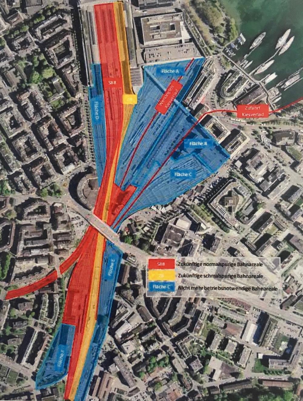 Mit einem Durchgangsbahnhof würde die SBB oberflächlich noch die rote Fläche nutzen und die Zentralbahn die gelbe. Was blau gefärbt ist, würde für die Stadtentwicklung frei.