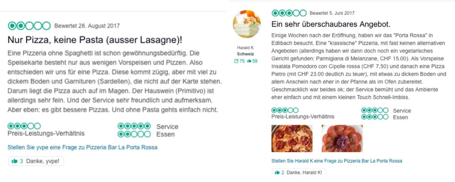 Die schlechten Bewertungen der alten Pizzeria «Porta Rossa». Wie es in Eldibach weitergeht, bleibt abzuwarten.