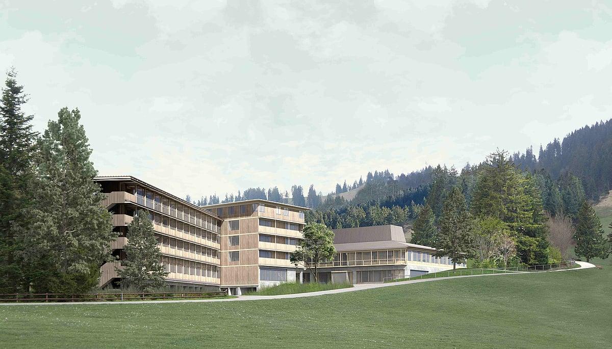So soll die geplante Kochakademie aussehen, die in unmittelbarer Nähe zum Kurhaus Heiligkreuz entstehen soll. (Visualisierung: zvg)