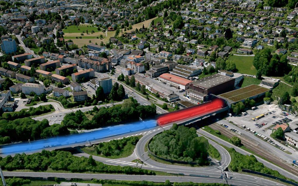 Eingang zum Sonnenbergtunnel zwischen Luzern und Kriens: Diese Ein-/Ausfahrt würde mit dem Bypass doppelt so breit. Das Astra ist bereit, die ersten 100 Meter (rot eingefärbt) zu überdeckeln. Die Krienser verlangen eine viel längere Überdachung.