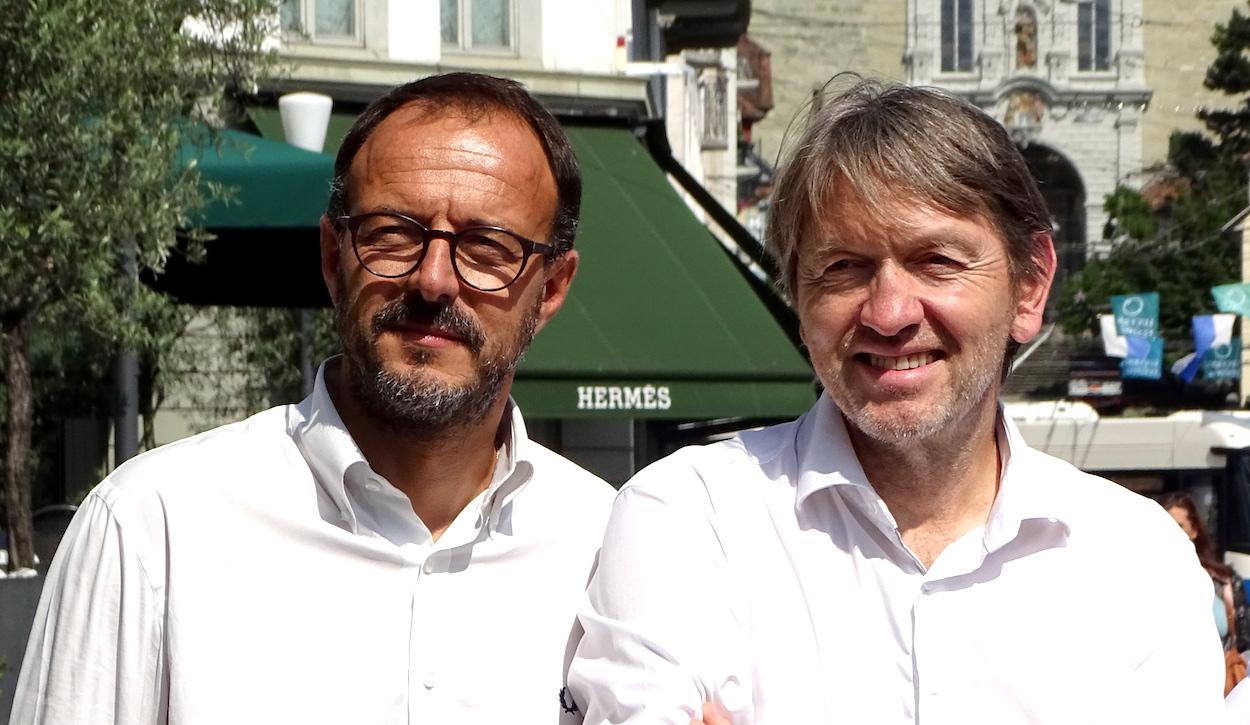 Verkehrsplaner Oscar Merlo (links) und Architekt Marc Syfrig.