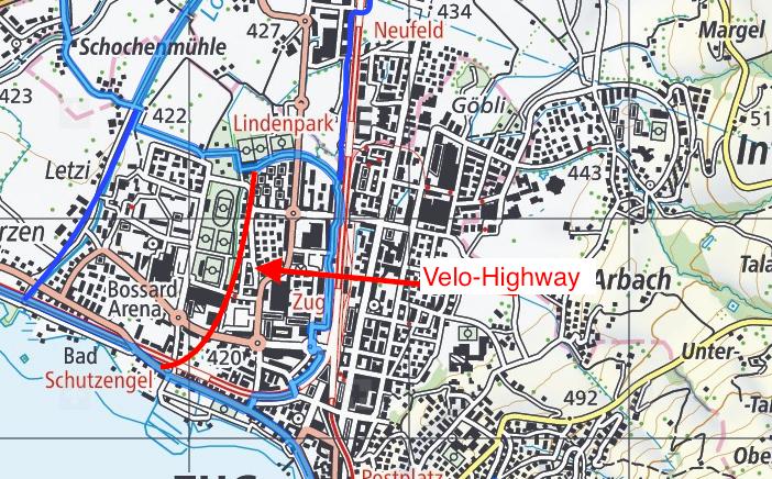 Veloweg-Hauptachsen in Zug: blau. Der geplante Velo-Highway: rot.