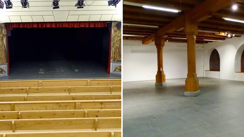Blick auf die Bühne im Dachstock und in den Bürgersaal im Erdgeschoss.