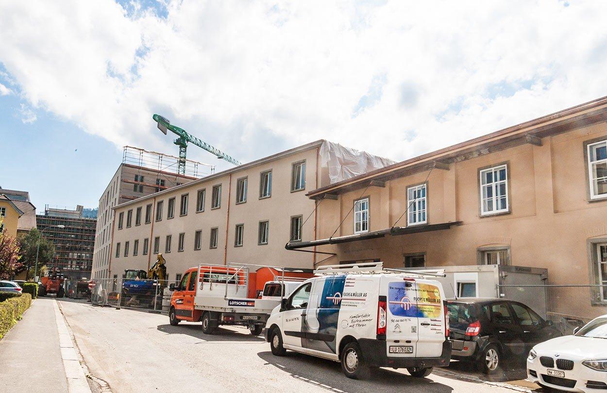 Noch mitten in der Bauphase: das Wohnwerk in Kriens.