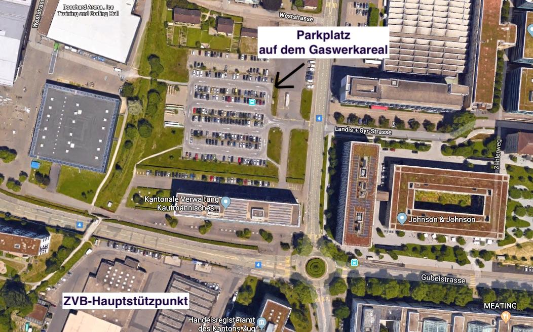 Eine Art Brache in der Zuger Innenstadt: Parkplatz auf dem Gaswerkareal.