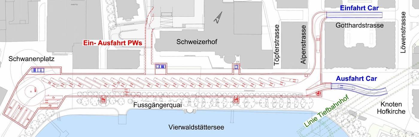 Die Einfahrt der Cars würde über eine Rampe auf der Alpenstrasse führen, die Ausfahrt über eine Rampe bei der Hofkirche.