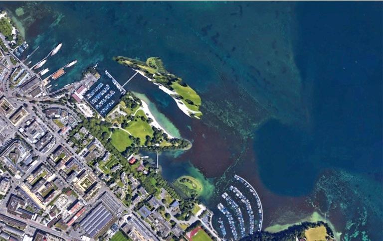 So stellt sich Architekt Marc Syfrig eine künstliche Insel aus dem Aushubmaterial bei der Ufschötti vor.