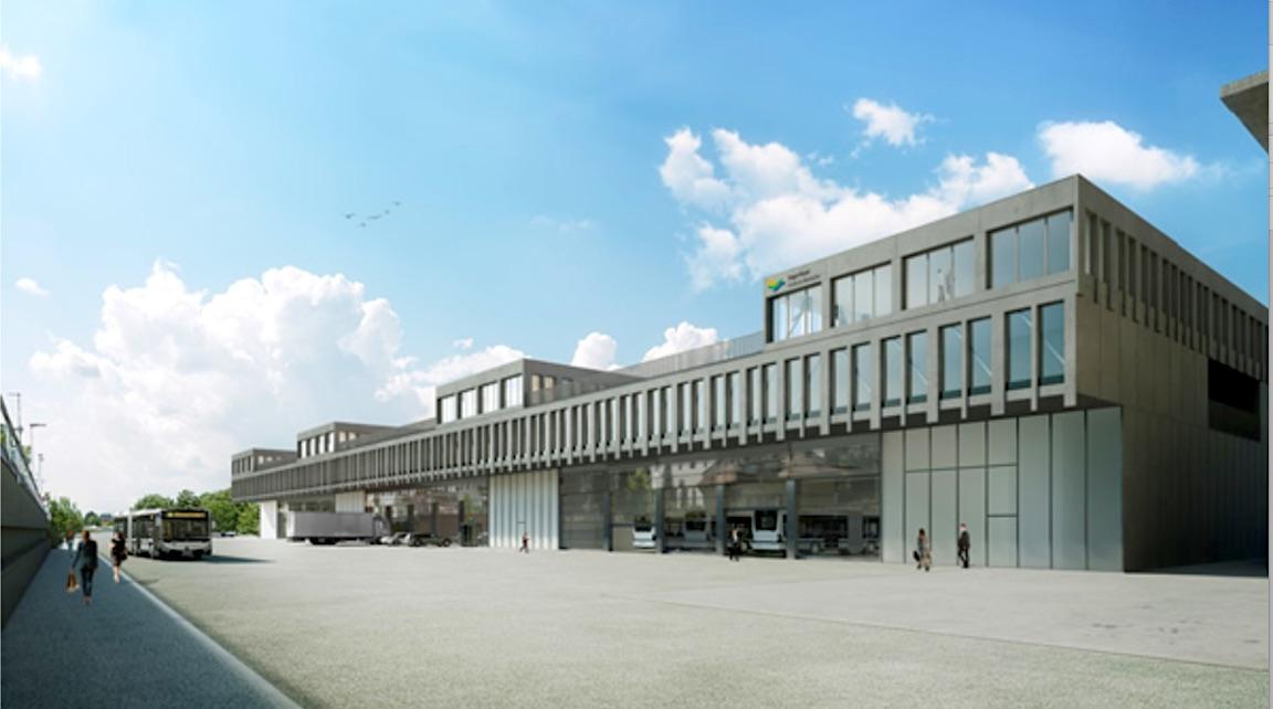 Sieht um einiges unscheinbarer aus als das KKL in Luzern, kostet aber annähernd so viel: Visualisierung des neuen Busdepots.
