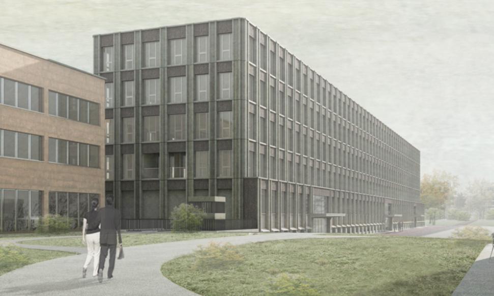 Visualisierung des geplanten Bürogebäudes für den Rettungsdienst.