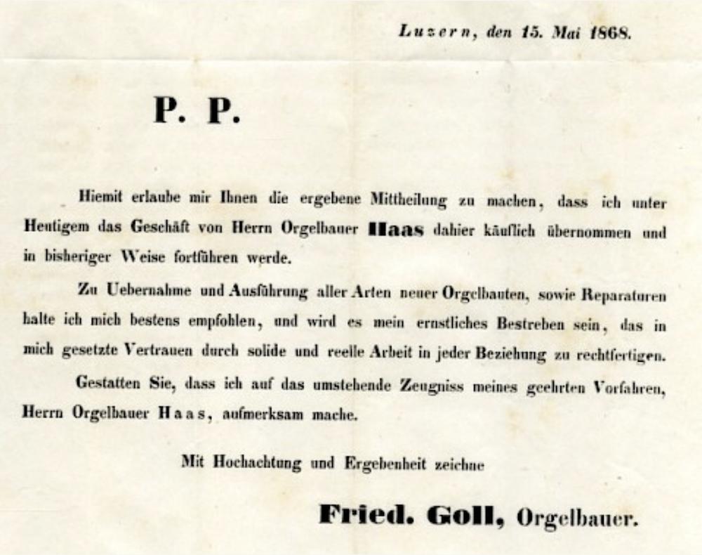 Die Urkunde zur Geschäftsübernahme von Gründer Friedrich Goll 1868.