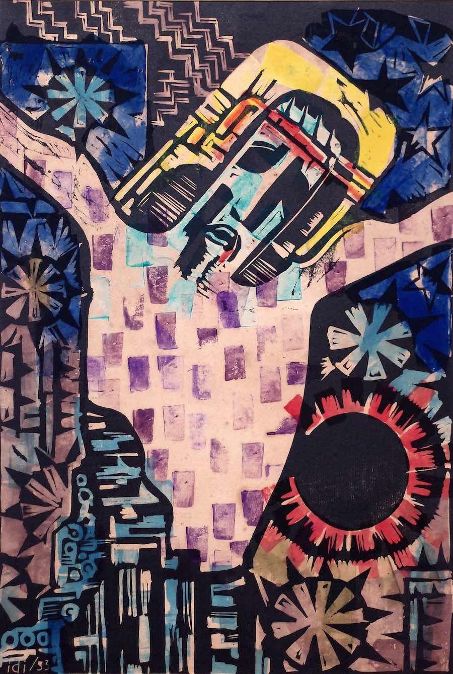 Farbholzschnitt von Alfred Schmidiger aus dem Jahr 1933 mit einer Darstellung der Kreuzigung.
