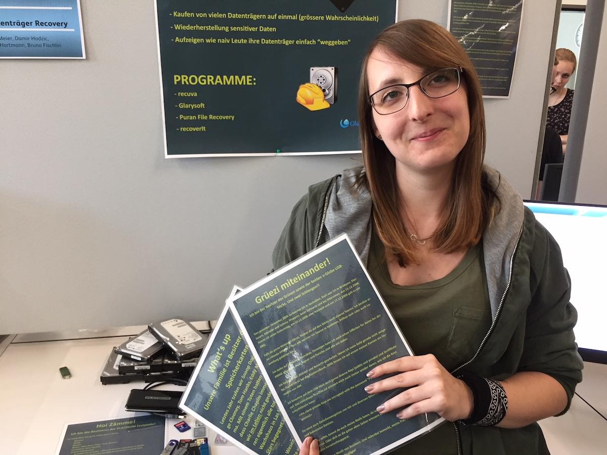 Eve Meier hat sich mit ihren Mitstudenten mit dem Thema Daten-Wiederherstellung befasst. Und das sehr erfolgreich.
