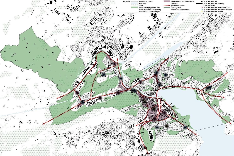 Karte der Stadt Luzern mit Freiräumen, Velorouten (rot) und Quartierzentren.