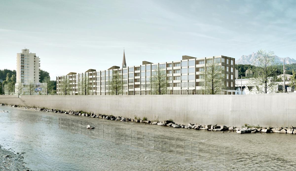 Visualisierung: So wird das neue Quartier Reusszopf mit dem fünfgeschossigen Bau aussehen.