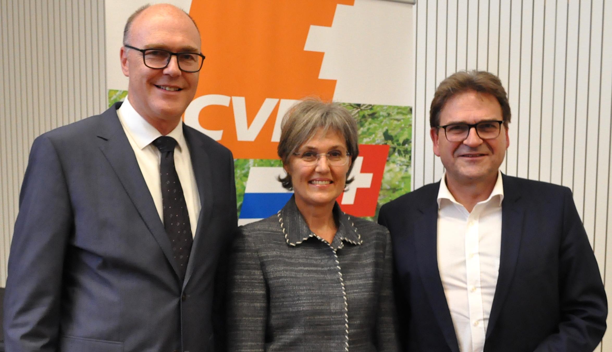 Diese drei Christdemokraten wollen in die Zuger Regierung: Martin Pfister (links, bisher), Silvia Thalmann-Gut (neu) und Beat Villiger (bisher).